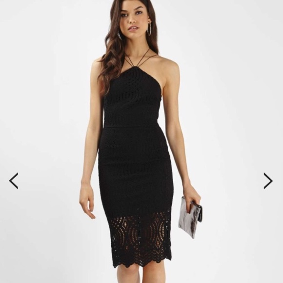 e05a5bb3ca38 Topshop Dresses | Black Lace High Neck Open Back Midi Dress | Poshmark